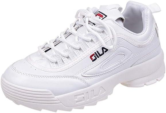 Zapatillas de Correr para Mujer Zapatillas de Deporte Chunky Blancas Zapatillas Cruzadas Atadas para Correr Plataforma de Suela Gruesa Zapatillas Antideslizantes Impermeables: Amazon.es: Zapatos y complementos