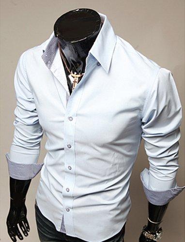 SODIAL(R) Mode Hommes Luxe Manche Longue Casual Mince Fit Tenu Elegante Chemises Azure XXL