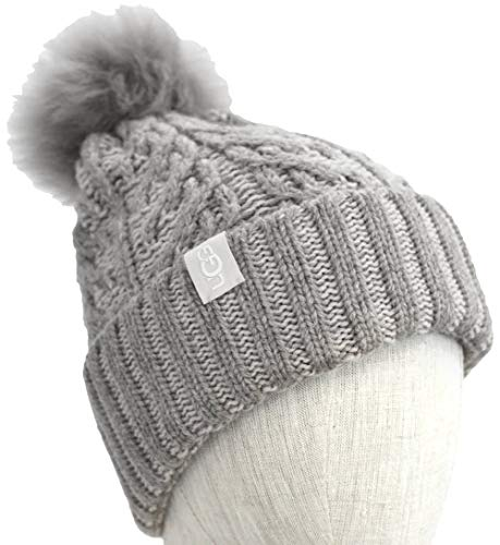 UGG Women's Cable Knit Pom Beanie Light Grey Heather One Size -