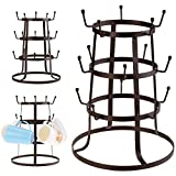 Cheesea Three Drying Stand Iron Brown Cup Glass Rack Organizer for Home Kitchen