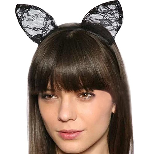 [Chen Halloween Party Sexy Cute Lace Cat Ear Costume Headwear Headband Cosplay (balck)] (Halloween Costumes Cat Ears)