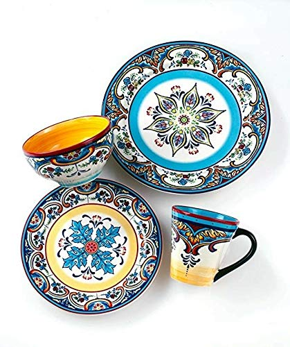 - Euro Ceramica Inc. YS-ZB-1001 Zanzibar Collection Vibrant Ceramic Earthenware Dinnerware Set, 16 Piece, Spanish/Mexican Floral Design, Multicolor, Service for 4