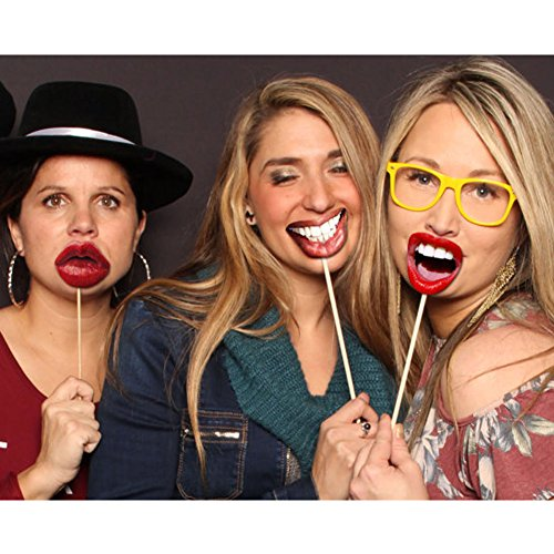 20 Pcs Emoji Mouth Photo Booth Props Lip Mask Birthday Wedding Party Game Accessories by Funbase (Image #3)