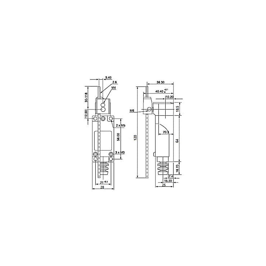 1no 3pcs del brazo de la palanca de la barra me-8107 interruptor de l/ímite moment/áneo 1nc