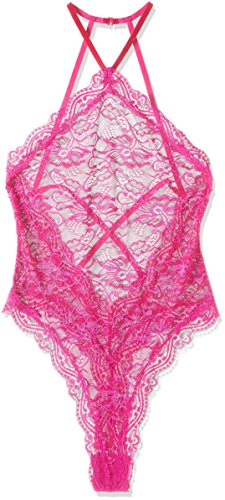 Dreamgirl Women's Stretch Lace Teddy with Scalloped Snap Crotch, Magenta, One Size