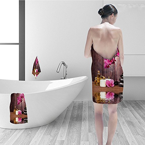Nalahomeqq Bath towel set Spa Decor Spa Flower Water Reflection Aro herapy Bamboo Blossom Candlelight Bathroom Accessories 3D Digital Printing No Chemical OdorEco-Friendly Non - Spa Aros