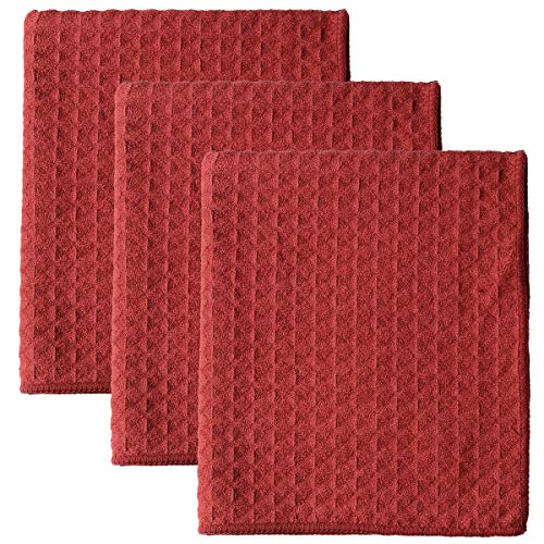 (Lifaith Microfiber Thick Waffle Weave Kitchen Towels Dish Cloth 3 Pack 16inch X 19inch Red)