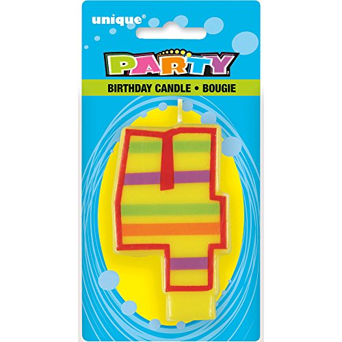 Decorative Striped Number 4 Birthday (Candles Stripes Number)