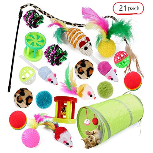 Cat Toy Tunnel Teaser Pet Tube Bed Wand Feather Crinkle Bored Four Hole Box Spring for Kitty Puppy Kitten Rabbit Ball Mouse Fish Large, in Outdoor Indoor Home Park Garden Yard(21pack)