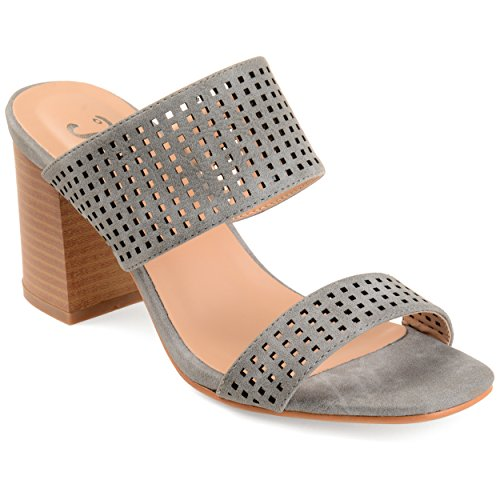 Heeled Strap Womens Dual Cut Grey Laser Collection Journee Mules qxYBw5tx