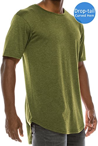 JC DISTRO Mens Hipster Hip Hop Basic Elong Crewneck T-Shirt Olive (Mens Basic Crewneck T-shirt)
