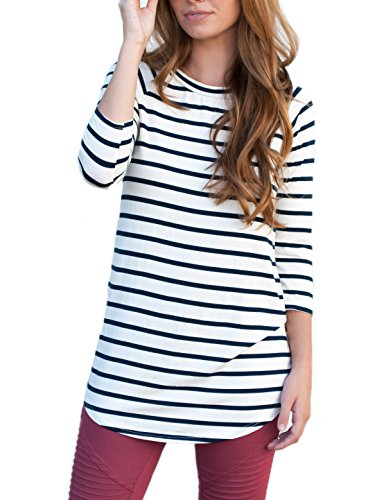 Tickled Teal Womens Striped Tunic 3/4 Sleeve Blouse (Navy, L)