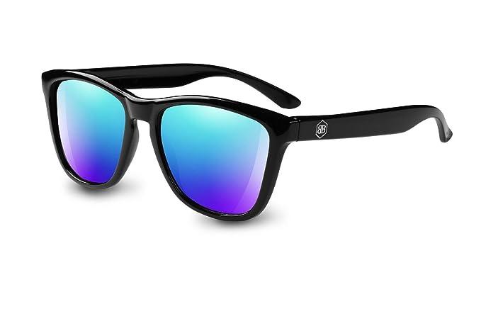 b&b Gafas de Sol polarizadas - Wayfarer Vintage hombre mujer Retro Espejo negro (Azul)