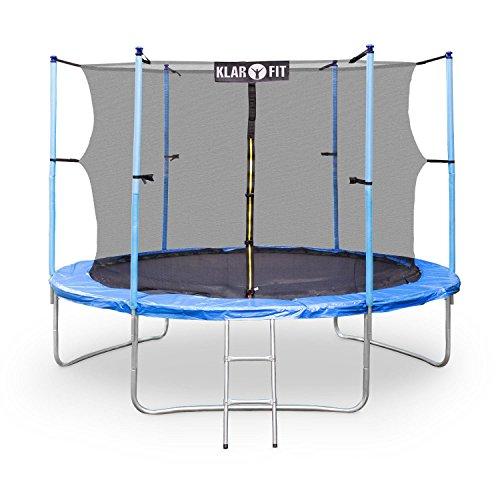Klarfit Rocketboy 305 Outdoor Trampolin Gartentrampolin 3m Kindertrampolin mit Sicherheitsnetz (inkl. Leiter und Haube, Sicherheit bis max 150kg, gepolsterte Stangen) blau