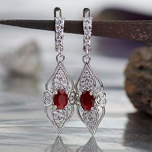Turkish Sterling Silver Red Topaz Oval Charm Earrings Victorian Jewelry Handcrafted