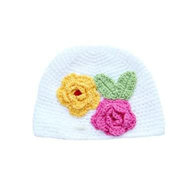 499380bfca7 FreshGadgetz White Pink Beautiful Cute Baby Girls Kids Flower Handmade  Winter Hat Crochet Knitted Warm Hat  Amazon.co.uk  Baby