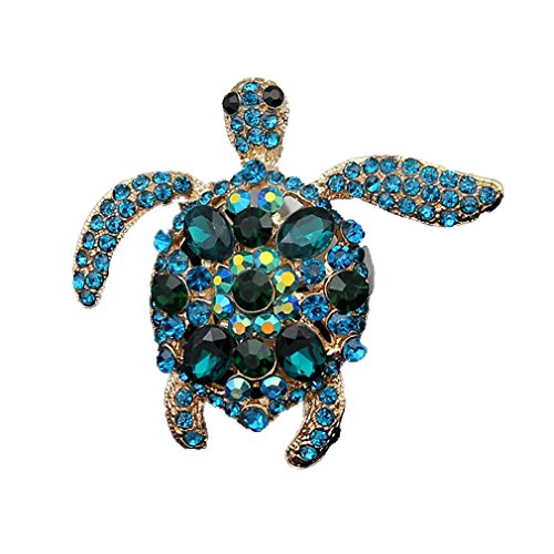 (YAZILIND Fashion Cute Little Turtle Inlaid Rhinestones Brooch Collar Needle Women Girls Accessories)