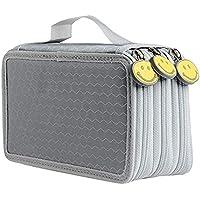 حقيبة أقلام رصاص وحقيبة صندوق لحفظ مستحضرات التجميل (رمادي، 3 طبقات)