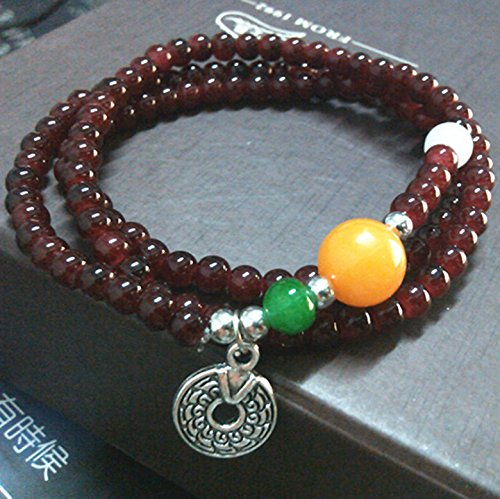 S0295 '' Thai amulets imitation crystal garnet topaz bracelet Ly coin (Topaz Coin)