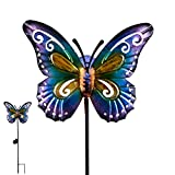 "Hannah's Cottage 28.7"" Decorative Butterfly Garden Stake, Metal Stake with Solar Lights for Garden, Patio, Backyard and Outdoor,Outdoor Paradise (Purple and Blue)"