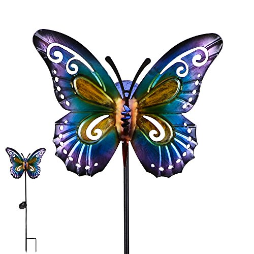 "Hannah's Cottage 28.7"" Decorative Butterfly Garden Stake, Metal Stake with Solar Lights for Garden, Patio, Backyard and Outdoor,Outdoor Paradise (Purple and Blue) by Hannah's Cottage"