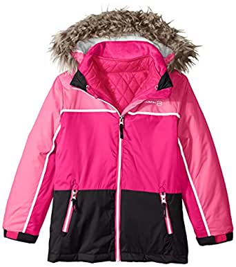 Free Country Little Girls' Systems Coat with Quilted Puffer, Black/Outdoor Pink, Small/4
