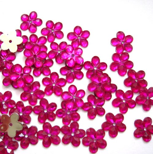 Nakpunar 100 pcs Fuschia Pink 5 Petal Sew On Rhinestone - 12 mm (1/2