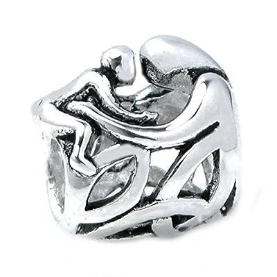 Sterling Silver Mother Baby Forever Love Hug Celtic Family Bead For European Charm Bracelets