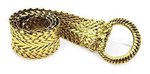 Belle Donne - Women's Trendy Leather Braided Fashion Dress Belts Gold/Medium