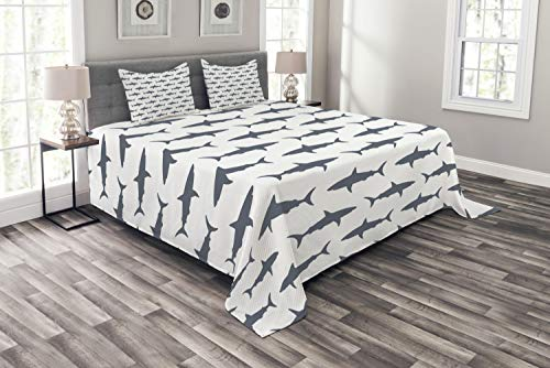 Ambesonne Sea Animals Bedspread Set Queen Size, Sharks Swimming Horizontal Silhouettes Powerful Dangerous Wild Life, Decorative Quilted 3 Piece Coverlet Set with 2 Pillow Shams, Charcoal White