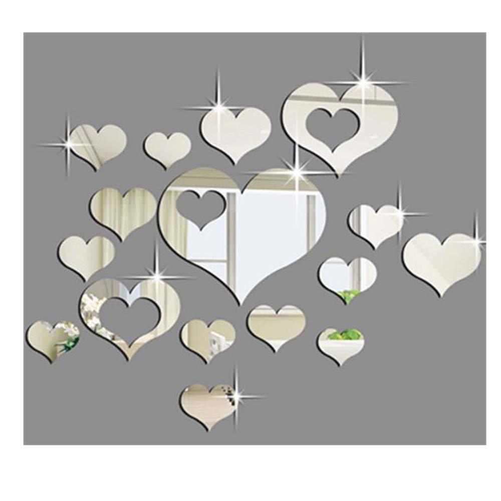 15PCS 3D Wall Sticker Mirror Love Hearts Decal DIY Home Room Art Mural Decor UK