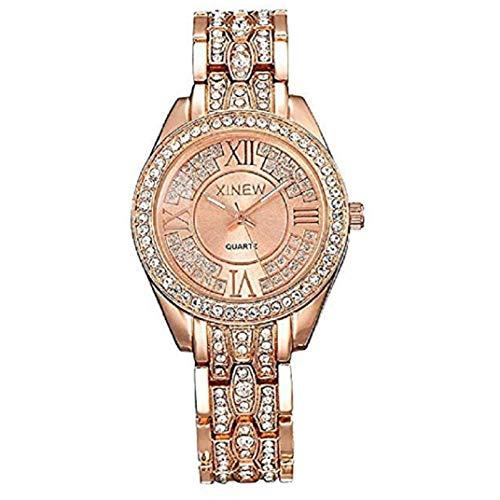 TOPOB Fashion Diamond Crystal Wrist Watches, Luxury Glass Round Dial Shining Stainless Steel Jewelry Quartz Watch (Rose Gold)