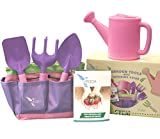 Kids Pink Gardening Tools with STEM Learning Guide by ROCA Toys. Tote Bag, Watering Can, Shovel, Rake and Trowel