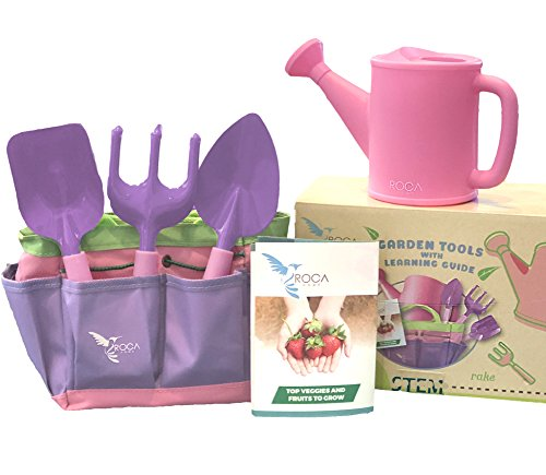 Kids Pink Garden Tools with STEM Learning Guide by ROCA Toys. Tote Bag, Watering Can, Shovel, Rake and Trowel – Summer Toys
