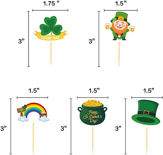 Patrick/'s Day Cupcake Toppers Picks Shamrock Irish Lucky Toothpicks Cake Decorations Party Supplies 144Ct St