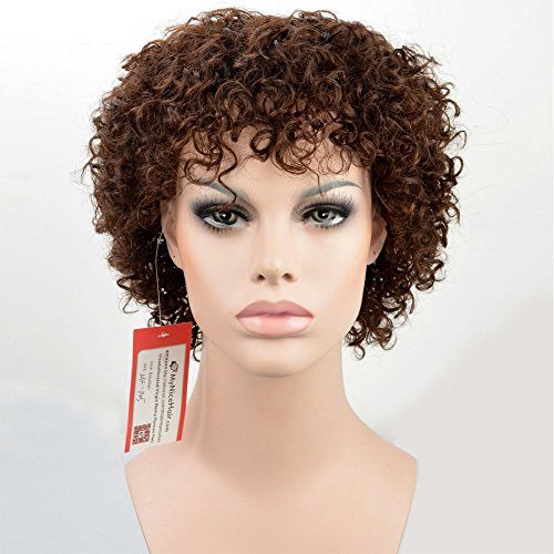 MyNiceHair--100% Pure Human Hair Curly Brown Colored 4# Wigs for Black Women (Colored Hair Wigs)
