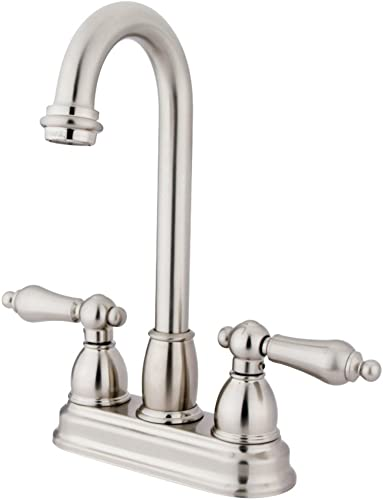 Kingston Brass KB3498AL Restoration 4-inch Centerset Bar Faucet, Brushed Nickel