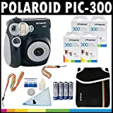Polaroid PIC-300 Instant Film Analog Camera (Black) with (4) Polaroid 300 Instant Film Packs of 10 + Polaroid Neoprene Pouch + Polaroid Cleaning Kit + Neck & Wrist Strap + (4) AA Batteries & Charger