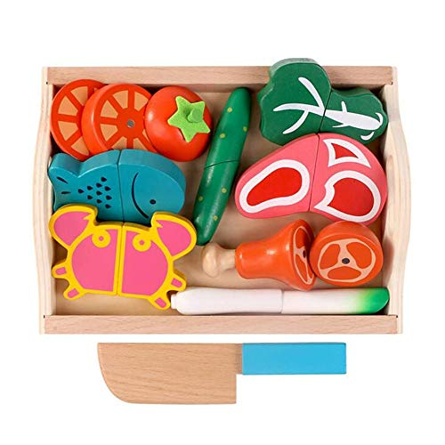 Children's Wooden Tray Magnetic Fruit and Vegetables Cut to See Cut Home Toys Multicolor