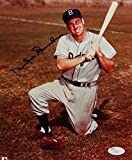 Duke Snider Signed Autographed Dodgers 8x10 Kneeling Holding Bat Up Photo- JSA Certified Auth *Blue