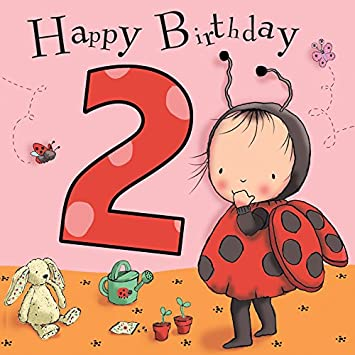 Twizler 2nd Birthday Card For Girl With Ladybird Two Year Old