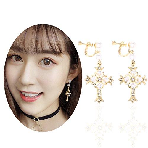 Unicra Women's Baroque Boho Bead Wedding Bridal Multiple Earrings Chandelier Long Dangle Cross Ear Clips for Brides and Bridesmaids