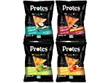 Protes Protein Chips Variety Pack - Toasted Coconut, Tangy Southern BBQ, Spicy Chili Lime and Zesty Nacho - High Protein, Low Carb, Vegan, Gluten-Free, 4 oz. Bags. (1 Bag of Each Flavor)
