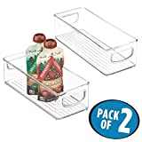 """mDesign Kitchen Fridge, Cabinet, Pantry Storage Organizer Bins for Food Pouches - Pack of 2, 10"""" x 4"""" x 3"""", Clear"""