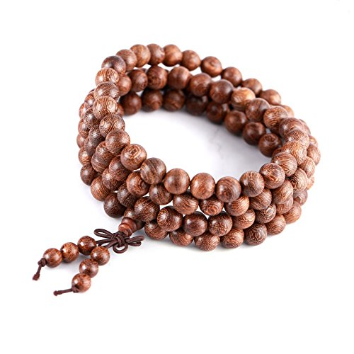 Buddhist Beads Wood Bracelet - 108 Sandalwood 8mm Meditation Necklace – Tibetan Prayer Elastic Link Mala for Men and Women – 108 Beads
