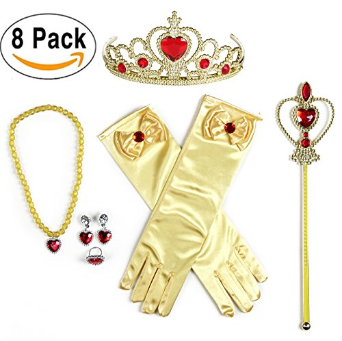 USATDD 8Pcs Girls Belle Princess Dress up accessories Set With Princess Gloves,Princess Tiara Crown,Wand,Ring and Necklaces For Kids Christmas Supplies Birthday Party Favor