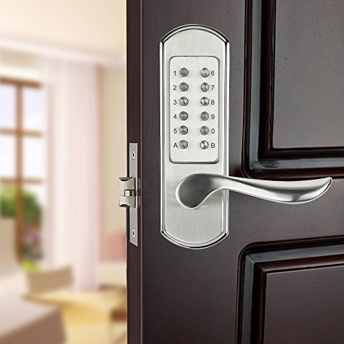 Right Handed Keyless Mechanical Door Lock Digital Code Security Keypad Entry Combination Door Handle Locks Stainless Steel 304 -NOT a Deadbolt and Only Fits Single Bore Door by MINGSUO (Image #2)