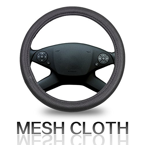 Cover 15 Inch Universal Polyester/Mesh - Grey Car Steering Wheel Cover ()