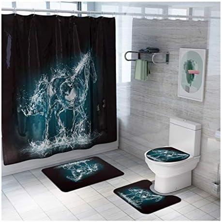 クリスタル馬印刷浴室マット4点セット、フロアドアマットポリエステルメモリーフォームは、ホテルホームの浴室浴室で使用することができ CXF (サイズ : 4 piece set)