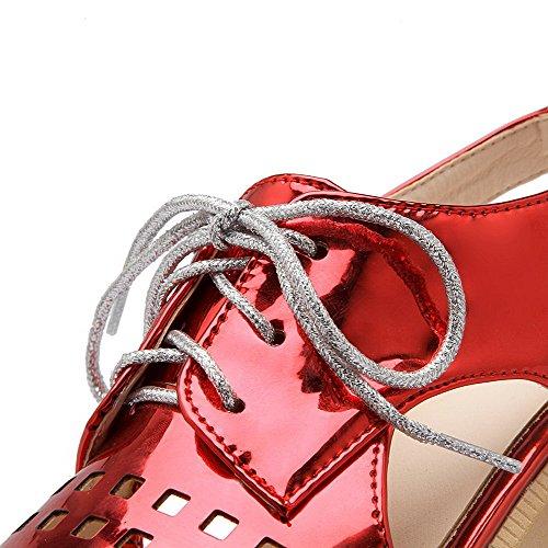 AgooLar Mujeres Charol Cordones Puntera Cuadrada Plataforma Sólido Sandalia Rojo